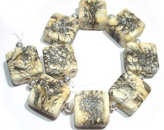 Handmade Glass SRA Lampwork Beads, Etched Stonecutter   Tiles