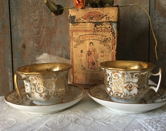 Gorgeous Vintage French China Teacups and Saucers