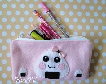 Cute Onigiri Pouch, Zipper Pouch, Pencil Pouch, Makeup Pouch, Pencil Case