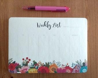Weekly Planner Notepad List Flower
