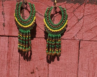 native american, beaded earrings,  ethnic earring,  tribal earrings,   bead earring,   boho earring,   fringe earrings,   beadwork jewelry