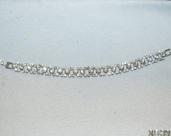 Bracelet Rhinestone Clear, Tennis Sparkling, Vintage old jewelry