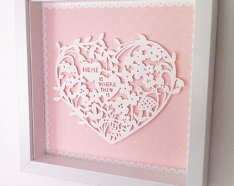 Paper Cut Heart In Frame- Home Is Where the Heart is