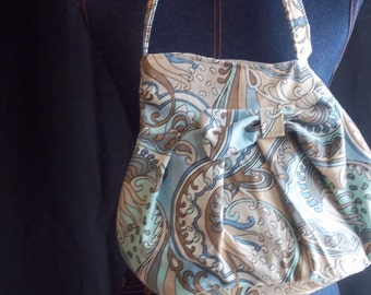 942 Blue, Grey, Tan and White Shoulder Bag With Bow