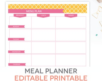menu plan weekly meal planning template printable editable pdf breakfast lunch dinner planner