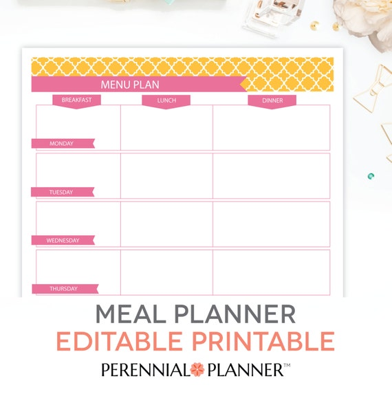 Nice Menu Plan, Weekly Meal Planning Template Printable   EDITABLE PDF    Breakfast, Lunch, Dinner Planner