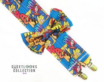 Suspenders and Bow Tie (or Hair Bow). Multicolored Comic Book Superman Birthday Party Outfit. Braces for Geeks. Novelty Suspenders.