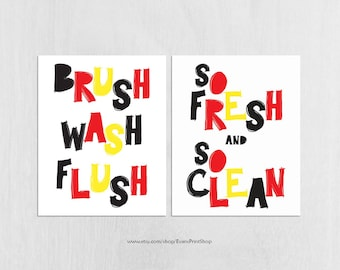 Kids Bathroom Decor 8x10 Instant Download - Brush Wash Flush - So Fresh and So Clean  - Mickey Mouse Bathroom - Black, Red, Yellow Bathroom