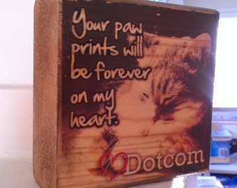 Custom Pet Remembrance Block - Photo Block - Image transferred to wood / photo transfer