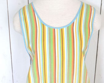 60s Kitchen Apron Retro Rainbow Striped Button Neck Tie Waist Vintage Cotton Pocket Apron