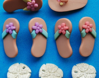 WALK On The BEACH Flip Flops Sandals Seashell Seaside Dress It Up Craft Buttons