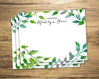 Custom Notecards, Personalized Flat Cards, Set Of 15, Garden Greenery Note Cards, Custom Stationery Cards, Watercolor Garden Notecards