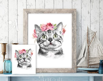 Printable digital download BIRTHDAY KITTY set of artwork and greeting cards for totes t-shirts pillows home decor Iron-On-Transfer ArtCult