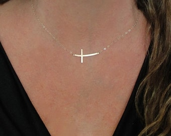 Cross Necklace, Curved Sideways Cross 14K Gold Filled, Sterling Silver, Rose Gold Filled, Or 14K Gold
