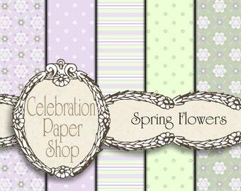 Floral Digital Paper, Lavender Digital Paper, Scrapbook Paper, Pastel Digital Paper for Paper Crafts, Digital Scrapbook & Background Paper.