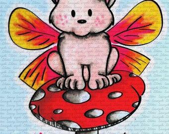 Butterfly Kitty Digital Stamp by Sasayaki Glitter Naz Smith. Black and White