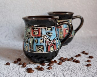 New home gift Ceramic tea mugs Houses Tea cups Coffee mugs Stoneware mug Teacup Sister gift Unique mugs Holiday gifts Gift for architect