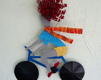 Lady Bicycle Art Metal Wall Sculpture Redhead Bike Gal Recycled metal Wall Decor Indoor Outdoor Whimsical Art 11 x 14