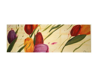 Tulips. Painting on wood 140x60cm Tulipani.