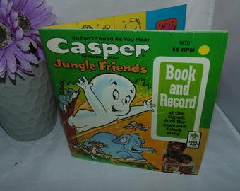 Vintage Casper the Friendly Ghost Jungle Friends Book and Record 1970 45 RPM peter pan records