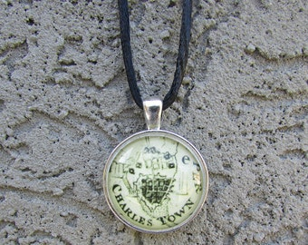 Historic Charleston, SC Map Necklace in Antique Silver