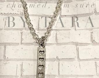 Heart bar charm necklace