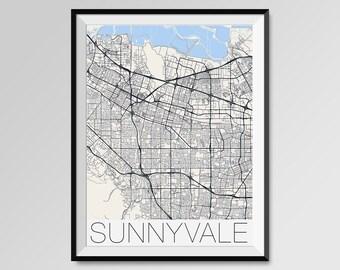 SUNNYVALE California Map, Sunnyvale City Map Print, Sunnyvale Map Poster, Sunnyvale Wall Map Art, Sunnyvale gift, Custom city maps
