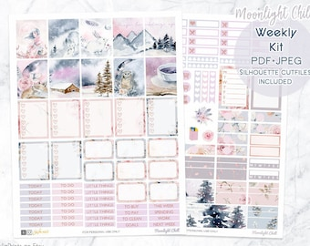 Printable Planner Stickers for Erin Condren Planner, Winter Glam stickers, Weekly Planner Kit, woodland animals, Floral, mountain, coffee