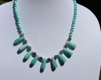 Amazonite Necklace, Gemstone Necklace, Pendant Necklace, Amazonite Teardrop Necklace, Boho Necklace, Bohemian Style