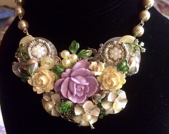 Floral assemblage bib necklace