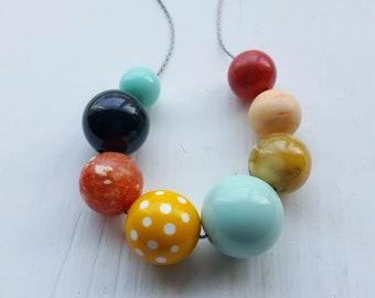 afternoon delight necklace - remixed vintage beads - polka dots - yellow, mint, forest green, red - choose your own length