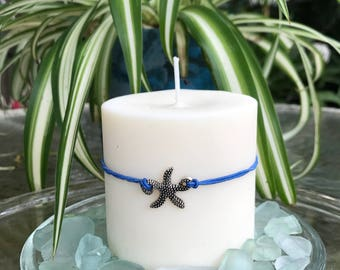 "Starfish, Soy  Pillar on the Sea Glass, 3"" x 3"", Beautiful Beach Wedding Centerpiece or a gift for that special someone, Eco Friendly"