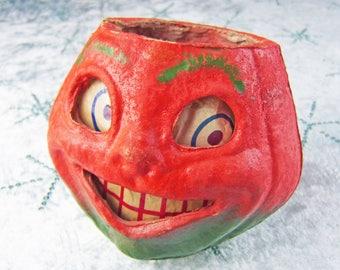 Paper Mache Halloween Pumpkin, Vintage Halloween Candy Container, Trick Treat Pail, Pulp Paper Jack O Lantern,  German 1940's Papier Mache
