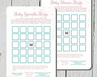 Baby Shower Game - Bingo Card - Stars and Butterflies Baby Sprinkle / Baby Shower - Game Card