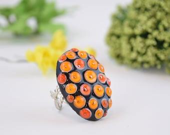 Orange glass ring , orange coctail ring , artisan glass ring , lampwork ring , murano glass ring , bumpy glass ring , adjustable ring