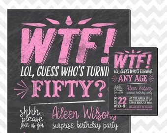 50th birthday invitations etsy whos turning 50 wtf turning 50 surprise 50th birthday 50th birthday invitations surprise birthday invitation wtf chalkboard invitation filmwisefo