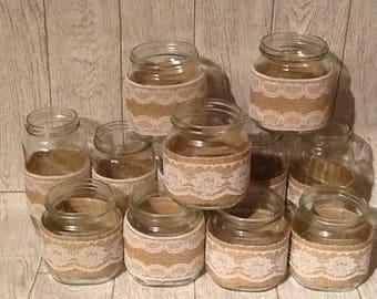 Lace and burlap jars, wedding jars, decorated jars, wedding centrepiece, tea light holder