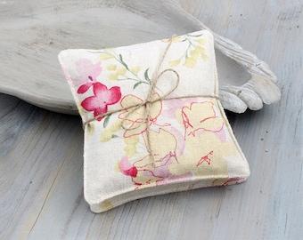 Lavender Sachets in Vintage Linen Floral, Cottage Chic Decor