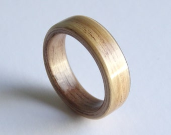 American Walnut And Oak Bent Wood Ring Hand Made To Order In Any UK or US Size for Men and Women