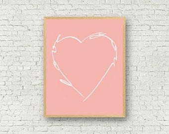 Love Wall Art, Pink and White, Digital Art, Love You, Typography, Poster, Motivational Prints