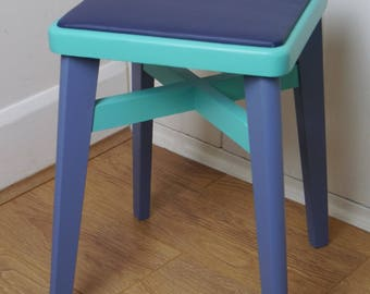 Vintage Kitchen Stool - Painted in Aqua and Denim Blue