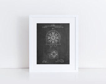 Tesla Coil Patent Poster, Alternating Current Magentic Motor, Tesla Patent, Nikola Tesla, Technology Art, PP1092