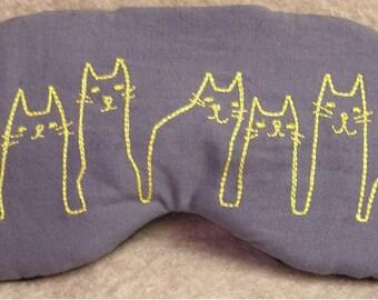 Embroidered Eye Mask, Cat Eye Mask, Kitty Eye Mask, Sleep Blindfold, Slumber Mask, Eye Shade, Travel, Handmade, Cat Mask, Embroidered Cat