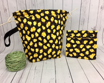 Chicks Bucket Bag AND Notions Case set, Knitting project bag, Crochet project bag,  Zipper Project Bag, Yarn bowl