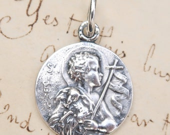 St John the Baptist Medal - Patron of Baptisms and Catholic Converts - Sterling Silver Antique Replica
