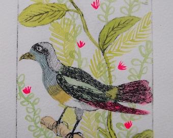 "original etching, printmaking, birds, ""Petite canaille"" 1/30"
