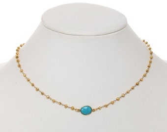 Turquoise and gold pyrite necklace