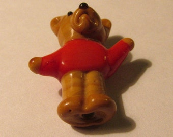 Cute Little Brown Teddy Bear with Red Sweater, Glass Charm Bead, 25mm