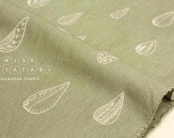 Japanese Fabric Kokka embroidered canvas - crescent moon - green - 50cm