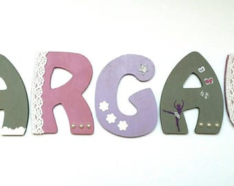 first name letter wood - girl theme